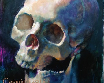 "Skull Original Oil Painting ""Cross Bite"" by Kristina Laurendi Havens"