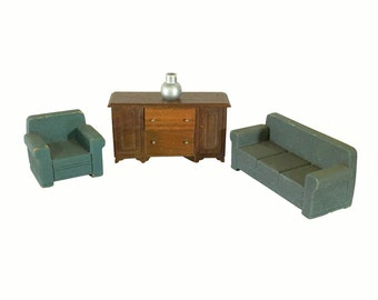 Vintage Dollhouse Sofa, Arm Chair, Cabinet & Vase Strombecker Toys