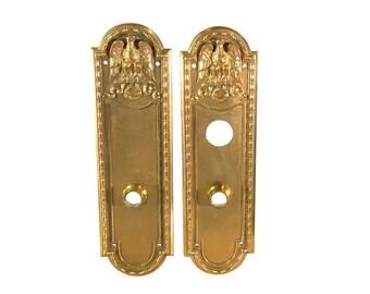 Yale Door Plate   American Eagle Design   Vintage Brass   Elegant Home Design   Old Lock Plate   Front Door   Architectural Salvage
