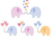 Elephant Love Hearts Balloons Clipart Digital Download