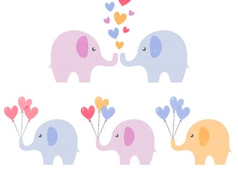 Elephant Love Hearts Balloons Clipart Digital Download
