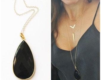 Long Necklace, Long Pendant Necklace, Long Layering Boho Necklace Long Stone Necklace, Layering Necklace, Teardrop Pendant Gold Necklace