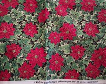 Christmas poinsettia fabric