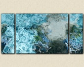 "Large wall art abstract, 30x60 to 40x78 triptych giclee stretched canvas print in aqua and blue, from abstract painting ""The Water Is Wide"""