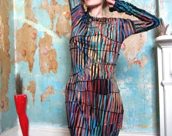 Misskarret Wearable Art Dress, Hand Printed Avant Garde Dress, Retro Futuristic, Alternative Dress, Party Dress, Black Dress, Striped Dress