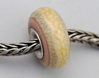 Unique Springtime Neutral Organic Bead - Artisan Glass Charm Bracelet Bead (JUN-40)