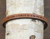 psalm 16:7-11 - adjustable leather bracelet  (additional colors available)