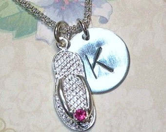 July Ruby Birthstone Flip Flop Hand Stamped Sterling Silver Initial Charm Necklace - Ruby Cubic Zirconia Birthstone Necklace