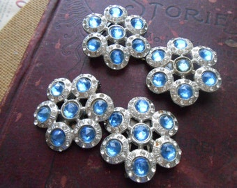 art deco blue rhinestone belt buckle and dress clip set parure