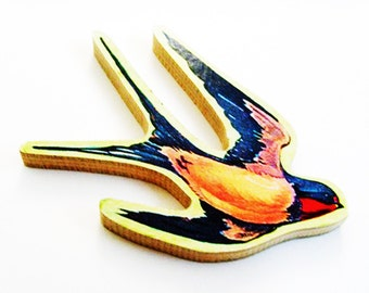 Swallow Brooch - Pin / Upcycled 1960s Hand Cut Wood Puzzle Pieces / Orange, Blue & Red Swallow Bird Wood Brooch / Unique Gift Under 50
