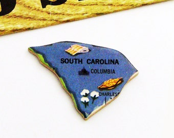 1961 South Carolina Brooch - Pin / Unique Wearable History Gift Idea / Upcycled Vintage Wood Jewelry / Timeless Gift Under 25
