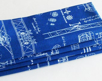 Blue & White Antique Airplanes Blueprints Cotton Napkins / Set of 6 / Early 1900s Aviation Design Table Decor / Eco-Friendly Gift Under 75