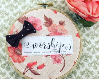 "Worship Definition Hoop Art 5"" Shabby Chic"