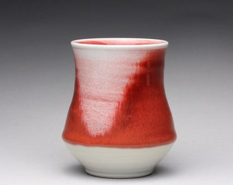 handmade porcelain cup, ceramic tumbler, pottery teacup with bright red and celadon glazes