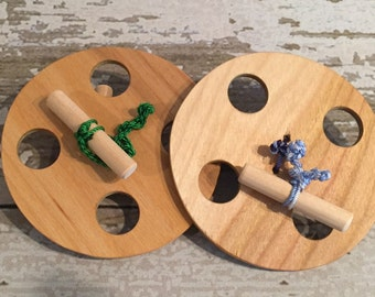 Pioneer Toy Spinning Wheels - Set of 2 - Handcrafted Wooden Pioneer Children Spinning Wheels - Set of 2
