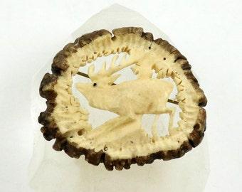 Vintage Stag Brooch, Carved Antler, Carved Horn, Deer Brooch, Scottish Pin, Hand Carved, Hunting Brooch