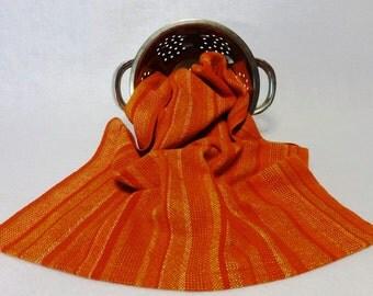 Handwoven Cotton/Linen Towel for Kitchen or Bath - Citrus Towel - Handtowel, Kitchen Towel, Handwoven Towel, Orange Towel (#15-23D orange)