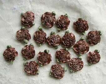 18pc BROWN Fabric Flower Applique Bow Satin Ribbon Bridal Craft Carnation Cabbage Rose