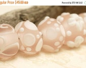ON SALE 35% OFF Handmade Glass Lampwork Bead Set - Seven Matt Finished Pink w/White Rondelle Beads 10702401