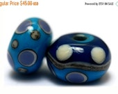 ON SALE 45% OFF Seven Turquoise & Blue Rondelle Beads 11600701 - Handmade Glass Lampwork Beads