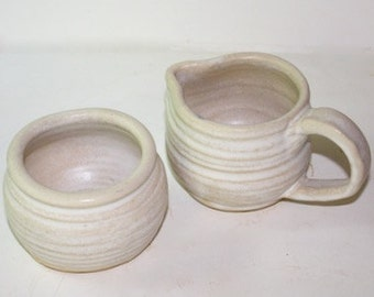 Stoneware Pitcher and Sugar Bowl Glazed in Stoney Mat for the Kitchen Table  OOAK