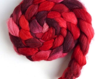 Merino/ Silk Roving (Top) - Handpainted Spinning or Felting Fiber, Heart of Hearts