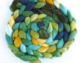 Polwarth/Silk Roving - Handpainted Spinning or Felting Fiber, Gleaming Gold