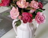 Vintage Porcelain Roses, Pink and Red Porcelain Roses Bouquet, Long Stem Porcelain Roses