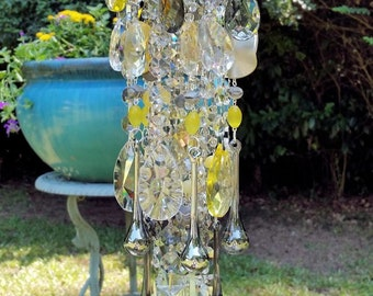 Moon Dust Antique Crystal Wind Chime, Soft Yellow and Gray Crystal Wind Chime, Garden Decor, Home Decor