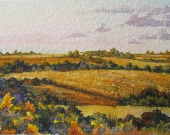 Autumn Hills, original watercolour painting, ACEO