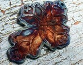 190. Raku Wondrousstrange Sands of Time...Earthenware Celtic Cross Pendant , Copper, Rust, Silver Blue