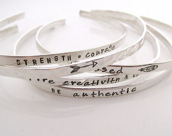 SET OF 5 Skinny Cuff Bracelets - Handstamped Bracelets - Inspirational Jewelry - Stacking bracelets - Coordinate Jewelry - Arrow Bracelet