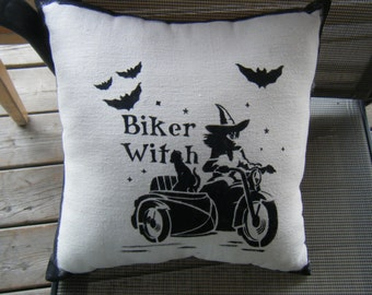 Pillow - Biker Witch - Pillow ready to ship