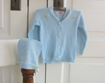 Vintage Baby Sweater, Baby Cardigan, Blue Baby Sweater, Baby Girl Sweater, 6 to 12 Months, Baby Hat Bonnet