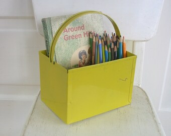 Vintage Metal Basket Box Easter Decor Yellow Industrial Storage