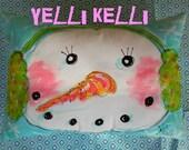 ONE Snowman Pillow Original Handpainted Design