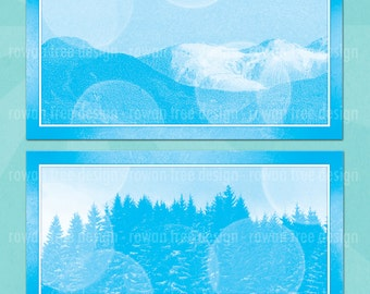 WINTER LANDSCAPES Digital Collage Sheet 4x2in Printable Gift Tags - no. 0153