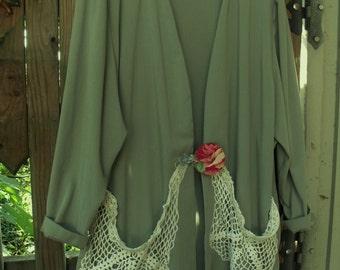 Duster Coat/ Size 24 Rayon Jacket/ Vintage Crochet Baggy Pockets/ Oversize Handmade Button/ Sheerfab Funwear