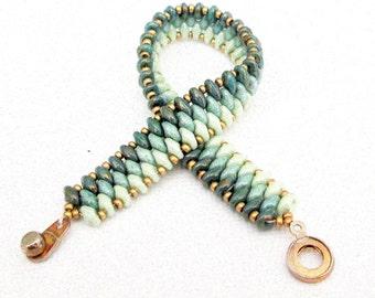 jade superduo beaded bracelet ombre bracelet czech mate bracelett boho bracelet stackable bracelet gift for herr