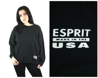 90s ESPRIT Black Sweathshirt / Minimal Normcore Health Goth Sporty Oversized Crewneck Vintage Esprit Sweatshirt Unisex / Size L Large