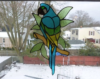 Parrot McCaw Stained Glass on Branch and leaves Glorious  Sun catcher Light catcher