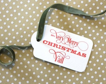 Very Merry Christmas Y'all - set of 3 letterpress gift tags