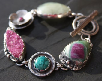 ruby in fucshite, chrysocolla, cobalto calcite, ruby, prehnite, and sterling silver metalwork link bracelet