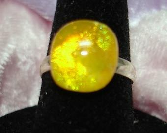 Yellowish Orange Handmade Fused Dichroic Glass Cab Ring - R125