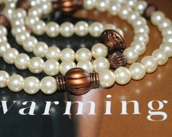 Pearls and Bronze Necklace