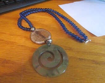 cobalt swirl necklace