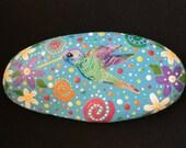 Mandela Inspired- hand painted stone-Hummingbird