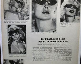 """Movies ...-187  """"Carroll Baker for Foster Grant Sunglasses Ad  - June 1965"""