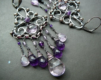 Filigree and gemstone chandelier earrings V - sterling silver, dark purple and lilac amethyst