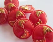 Vintage Button- 8 beautiful medium size matching raspberry color with gold leaf design  (jan 166b)